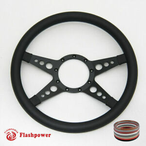 14 Black Billet Steering Wheels Full Wrap Ford Gm Corvair Impala