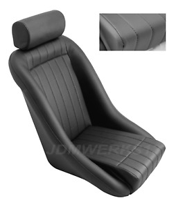 Retro Classic Vintage Racing Bucket Seats Black Perforated W Sliders 1 Seat