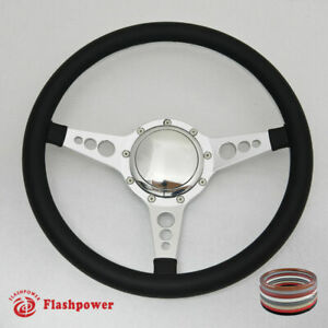 14 Polished Billet Steering Wheel Full Leather Wrap Horn Button Chevelle Gto