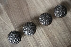 Iron Door Knobs Vintage Old Cabinet Drawer Handles Pull Rustic Hardware 4pcs