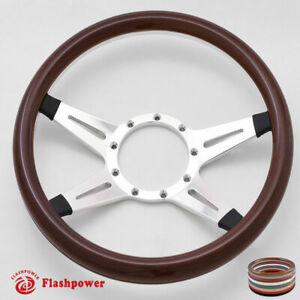 15 5 Billet Steering Wheel Wood Half Wrap Ford Gm Corvair Impala Chevy Ii