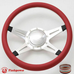 15 5 Billet Steering Wheel Burgundy Half Wrap Horn Button Ford Corvai