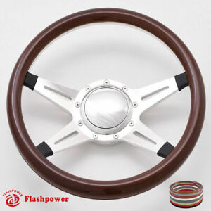 15 5 Billet Steering Wheel Wood Half Wrap Horn Button Ford Gm Corvair