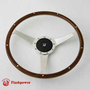 14 Classic Wood Steering Wheel With Horn Button Restoration Vintage Mg Gt Mgb