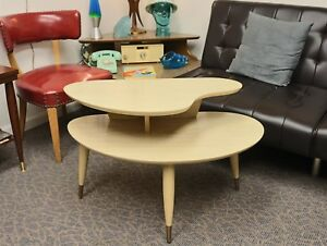 Vintage Blonde 2 Tier Kidney Shaped Mid Century Modern Side Table