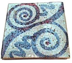 Vintage Art Pottery Ceramic Abstract Modernist Thick Artisan Tile