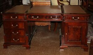 Gorgeous Raised Panel Carved Chippendale Leather Top Partners Executive Desk