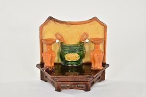 Antique Chinese Multicolored Ceramic Pottery Incense Holder Wall Vase