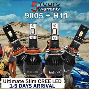 4x 9005 H11 Cree Led Headlight Kit Light Bulbs 3000w 450000lm 6000k Slim Chip