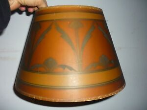 Old Antique Mission Arts Crafts Era Art Deco Nouveau Lamp Shade Stenciled Art