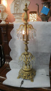Vintage Victorian Crystal Table Lamp Wit Intricate Gold Tone Base 31 Inches Tall