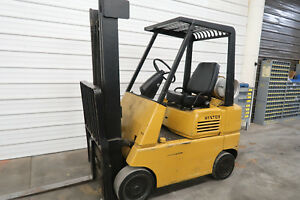 Hyster S50e 5 000 Cushion Tire Forklift Lp Gas 2 Stage Pallet Forks