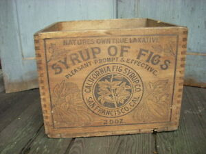 Antique Syrup Of Figs Laxative Remedy Medicine Shipping Crate Dovetailed Box