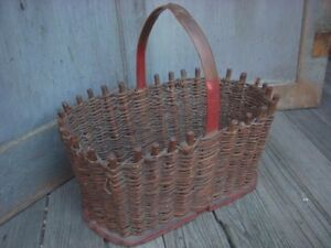 Antique Hand Made Woven Vine And Wood Basket Old Red Paint Folk Art Aafa