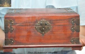 8 Old Chinese Ancient Redwood Wood Inlay Bronze Carved Makeup Box Jewelry Boxes