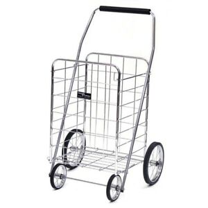 Jumbo Shopping Cart Spooked Wheels Heavy Gauge Steel 150 Lbs Capacity Chrome