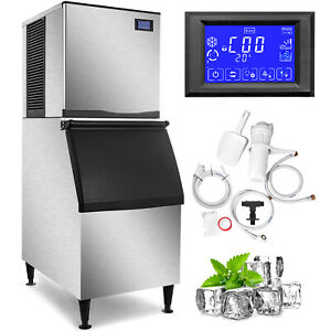 350 Lbs 24h Commercial Ice Maker Machine Bakeries Cafes Lb 300t Ice Cream 850w