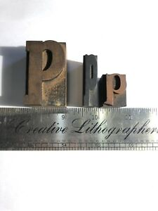3 Vintage Wood Printing Press Blocks Letterpress Type Letter P