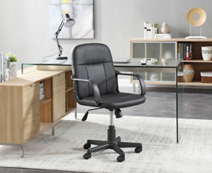 Pu Leather Office Executive Chair Mid Back Swivel Task Computer Desk Seat Black