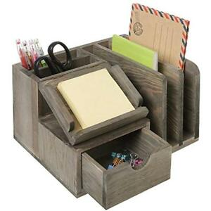 Rustic Gray Wood Desktop Office Organizer W sticky Note Pad Holder Mail Sorter