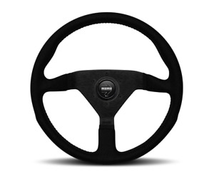 Momo Steering Wheel Monte Carlo Black Alcantara 350mm New Black Stitch Classic