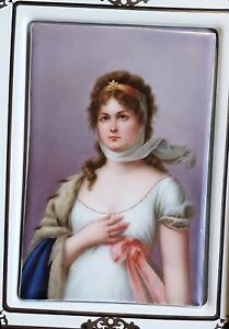 Antique Queen Louise German Painted Porcelain Plaque Louisa Of Prussia Kpm Grade