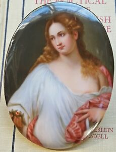 Antique 19th C German Oval Porcelain Painted Plaque Titian Flora Kpm Grade 1800s