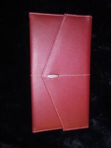 Red Rolodex Cc Business Cards Notepad Holder W Envelope Faux Leather Organizer