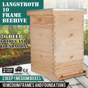 Langstroth Bee Hive 10 Frame 2 Deep 1 Medium Box Beehive Safe Complete Kit