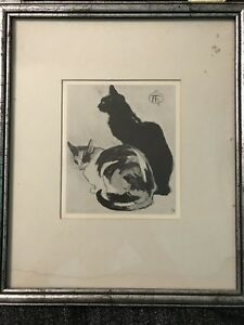 Chinese Cat Signed Picture Old Art Vintage Framed