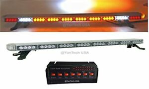 50 Amber Clear Led Light Bar Warning Tow Plow Truck Wrecker Police Snow Plow