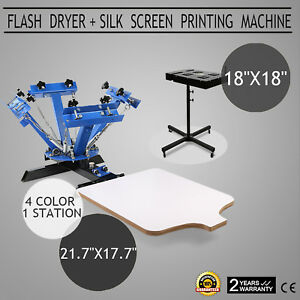4 Color Screen Printing 1 Station Kit 18 X 18 Flash Dryer Drying T shirt Diy