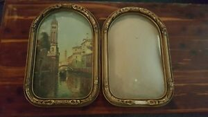 Antique Convex Glass Wood Picture Frame Chicago Portrait Co Lot Of Two