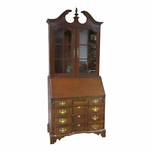 Vintage Pennsylvania House Solid Cherry Two Piece Traditional Lighted Secretary