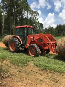 Kubota M9000 La1251 Loader Tractor Cab 4x4 Quick Attach Bucket Hay Spear A c