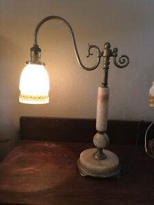 Antique Art Deco 3 Pc Marble Base Bridge Arm Lamp With Painted Art Glass Shade