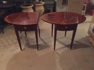 Pair Of Baker Furniture Solid Wood Drop Leaf End Tables With Inlay