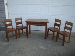 Vtg Tepco Original Porcelain Enamel Top Kitchen Dining Table With 4 Chairs