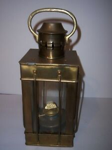 Vintage Brass Nautical Oil Lamp With Carrying Handle