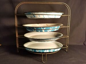 Antique Wire Pie Cooling Rack W Blue Swirl Pie Pans General Store