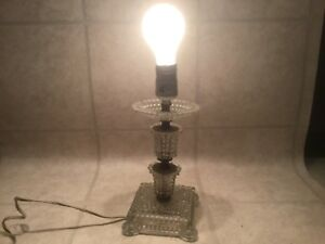Vintage Pressed Glass Crystal Vanity Boudoir Bedroom Table Lamp Works