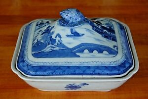 18th 19th C Chinese Export Canton Rain Clouds Blue White Covered Dish 9 25