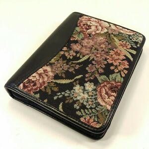 Franklin Quest Covey Compact Floral Tapestry Black Leather Planner Binder