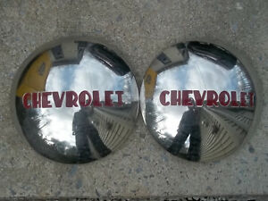 Pair Chevrolet 1 2t Truck Hubcaps Stainless 1947 1948 1949 1950 1951 1952 1953