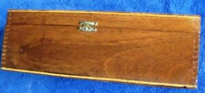 Antique Wood Box Hinged Lid Solid 10 5 X 5 75 X 3 5 Dovetail Joint Corners