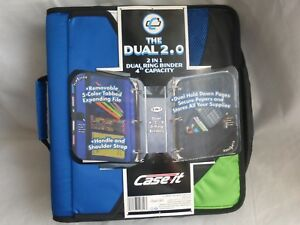 Case it 2in1 Dual Ring Binder 4 Capacity Pockets Inside out 5 color Tabbed File