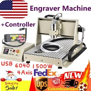 4 Axis Usb 1500w 6040 3d Router Engraver Engraving Mill drilling Machine Rc Us
