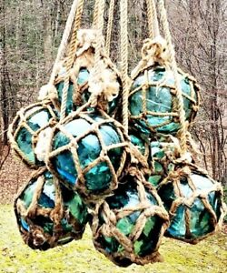 Authentic Vintage Netted Asian Japanese Glass Fishing Floats 3 5 Lot Of 9