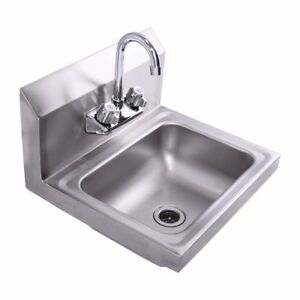 Stainless Steel Wall Mount Hand Wash Sink For Kitchen Bar Janitorial Room New
