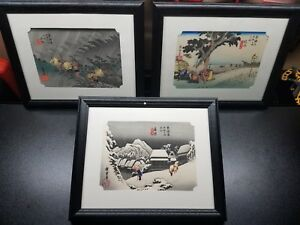 Ando Hiroshige Woodblock Print Lot Of 3 16 28 And 46 Framed